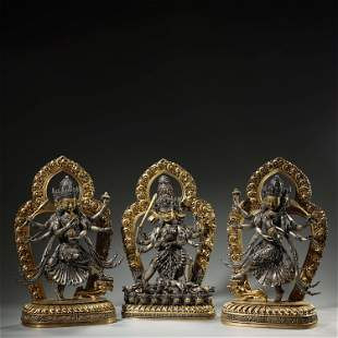 Set of Gilt Bronze Gold and Silver Buddha Statue