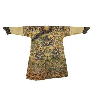 Qing Dynasty,Yellow-Ground Embroidered Silk Imperial