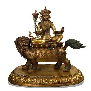 Qing Dynasty,Gilt Bronze Buddha Ride-on the Lion