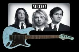 Nirvana Fully Group Signed Blue Stratocaster-Style