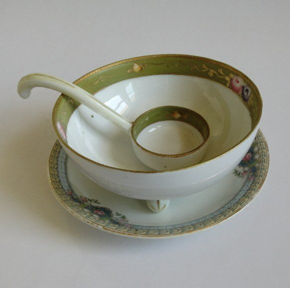 Antique set Nippon fine porcelain bowl and spoon