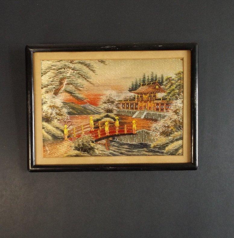 Vintage Japanese scenic needlework silk embroidery
