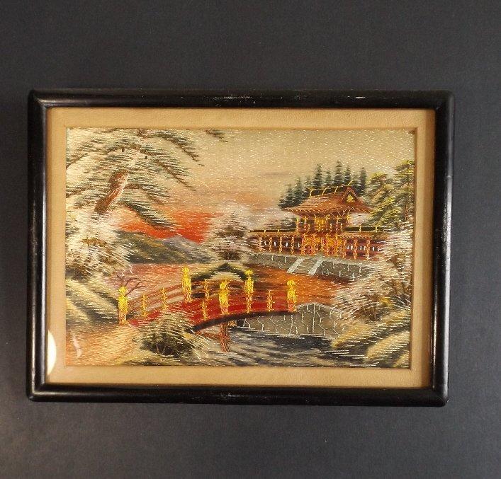 Vintage Japanese scenic needlework silk embroidery - 2