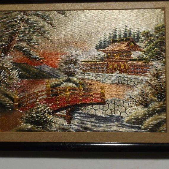 Vintage Japanese scenic needlework silk embroidery - 3