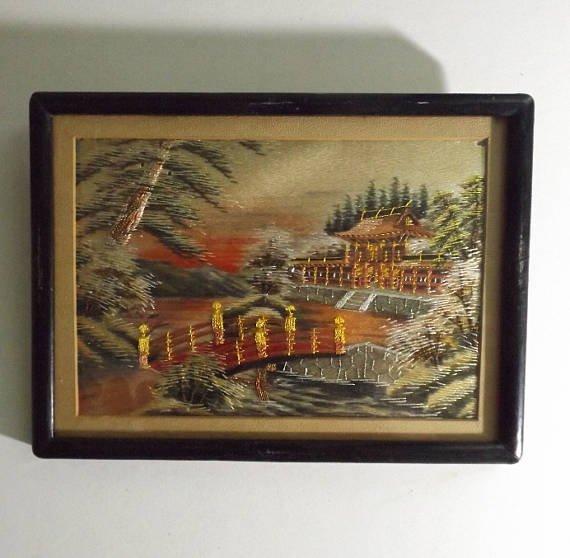 Vintage Japanese scenic needlework silk embroidery - 4