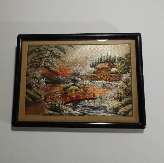 Vintage Japanese scenic needlework silk embroidery - 5