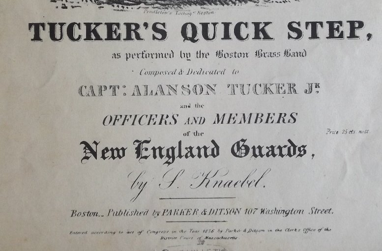 Tuckers Quick Step, 1836, Military Sheet Music, Litho - 4