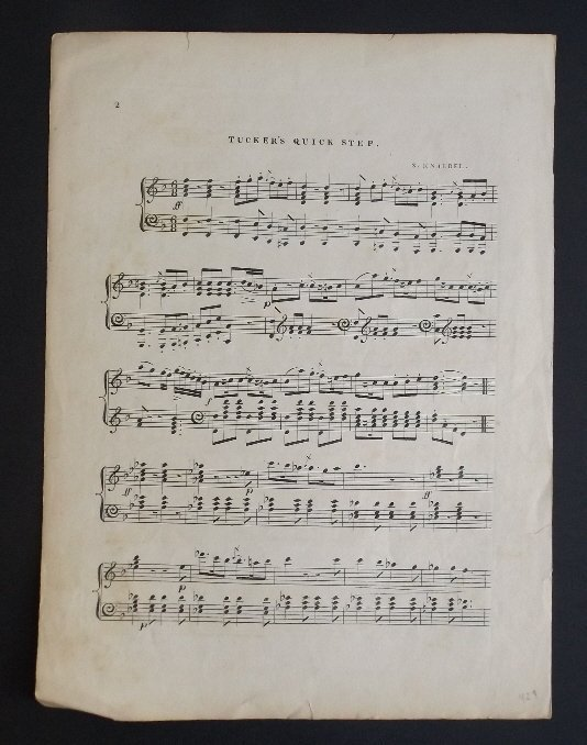 Tuckers Quick Step, 1836, Military Sheet Music, Litho - 5