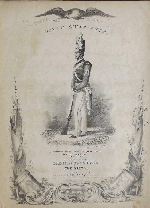Halls Quick Step, 1840, Military Sheet Music, Litho