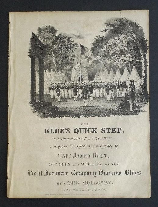 Blues Quick Step 1836 Military Sheet Music, Litho - 2
