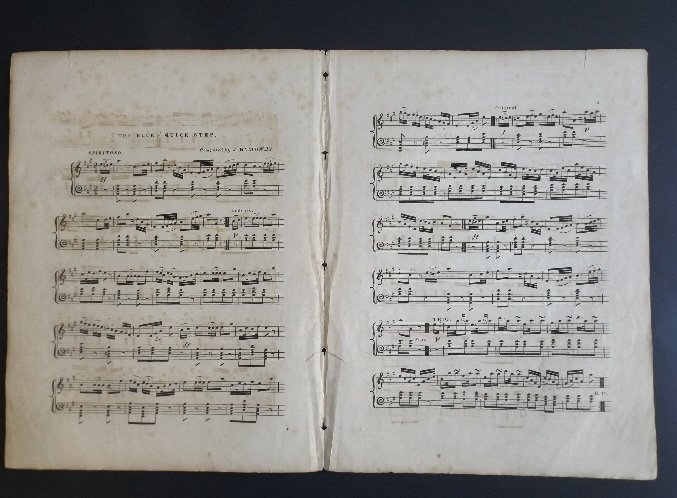 Blues Quick Step 1836 Military Sheet Music, Litho - 5