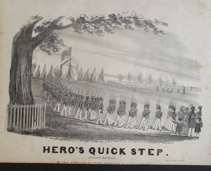 Heros Quick Step 1836 Military Sheet Music, Litho