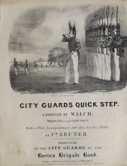 City Guards Quick Step 1835 Military Sheet Music, Litho