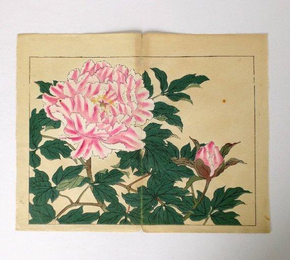 Sakai Hoitsu, Peonies, 1st woodblock print 1907-08