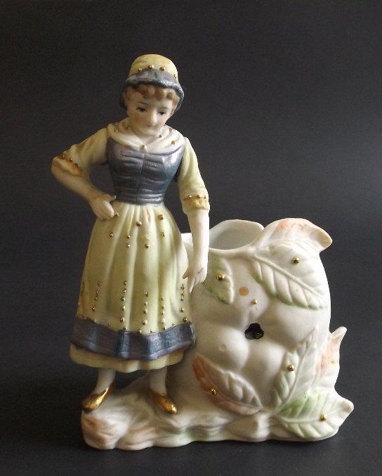Bisque Girl, Occupied Japan Paulux Figurine Vase