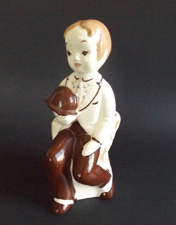 De Lee Porcelain Boy Figurine, 1949 Art Planter