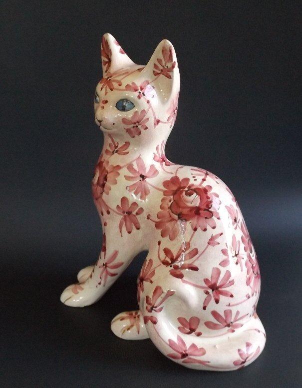 Mid Century Large Porcelain Cat figurine Italy 1953