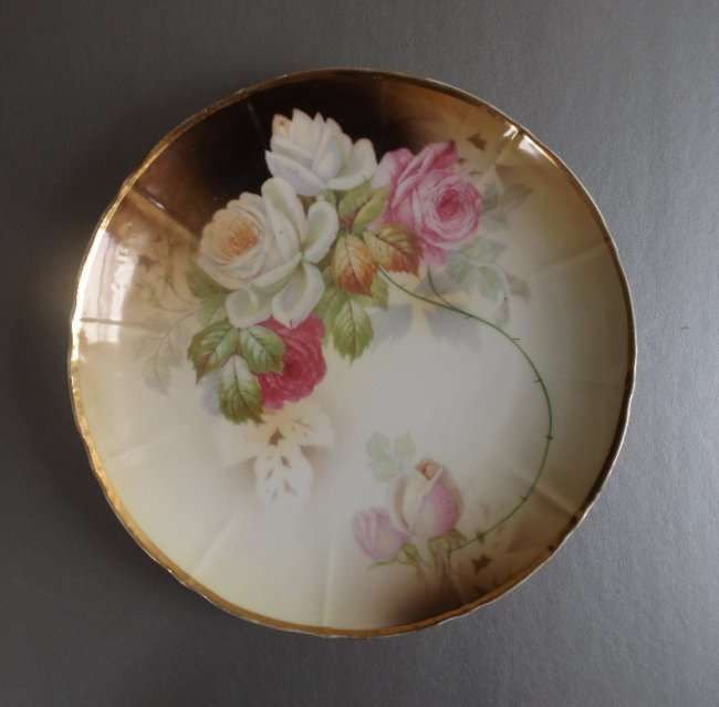 Victorian Porcelain Plate Tillowitz Roses 1890s Germany