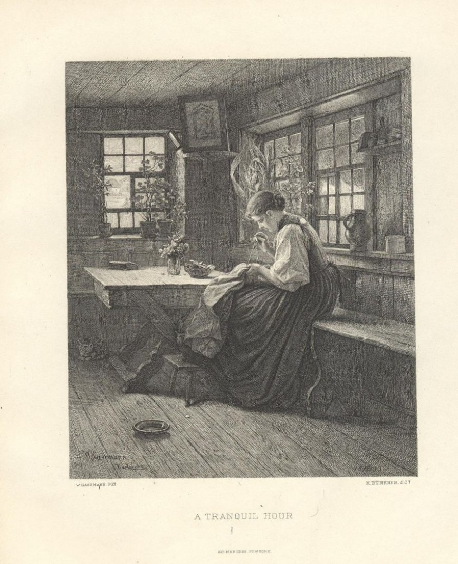 Hasemann, Young Girl Sewing, A Tranquil Hour, Buerkner