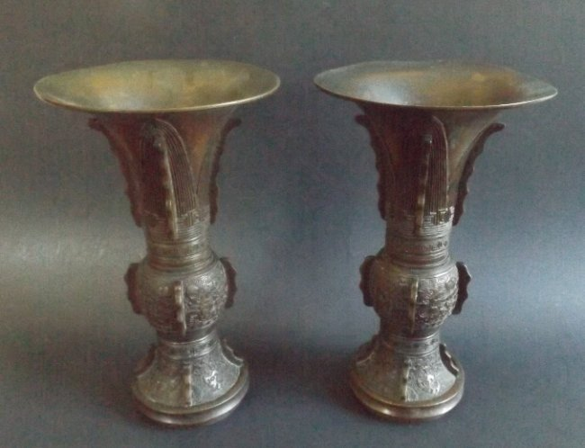 Set of two vintage Chinese bronze ritual Gu vessels