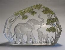 Hand Engraved Crystal Glass Paperweight Elephant