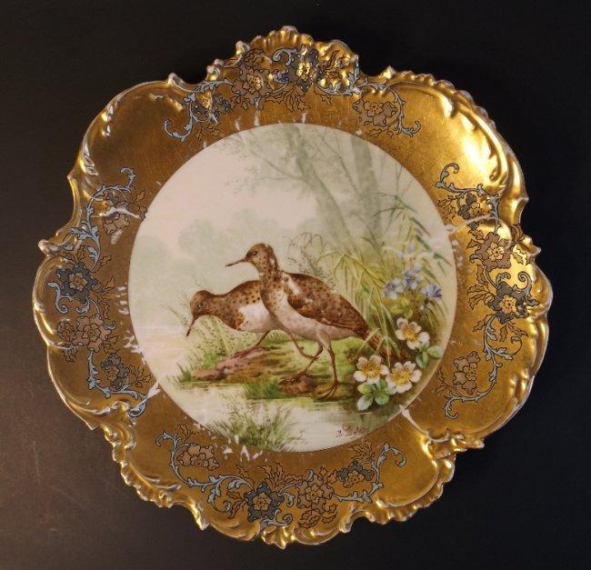 French Limoges Plate, Golse 1900s, Birds Belle Epoque