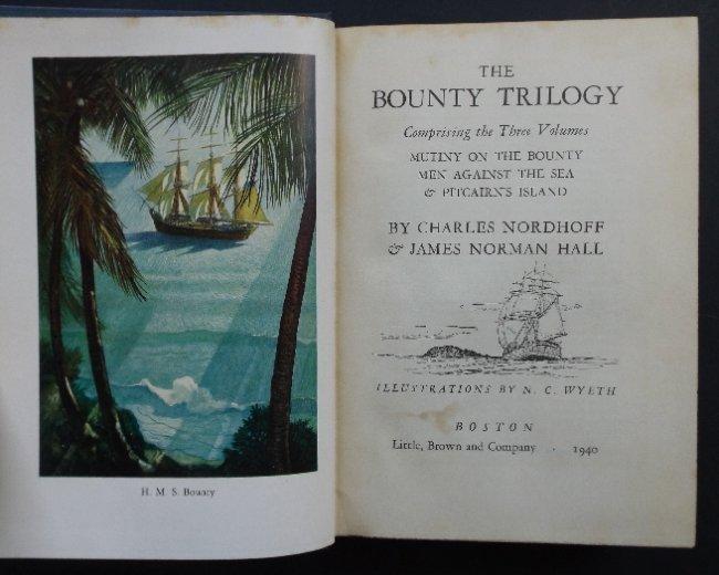 Nordhoff, Bounty Trilogy 1stEd. 1940 Wyeth illustration