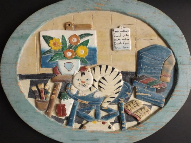 Artist's Studio with cat, wood carved relief Folk Art