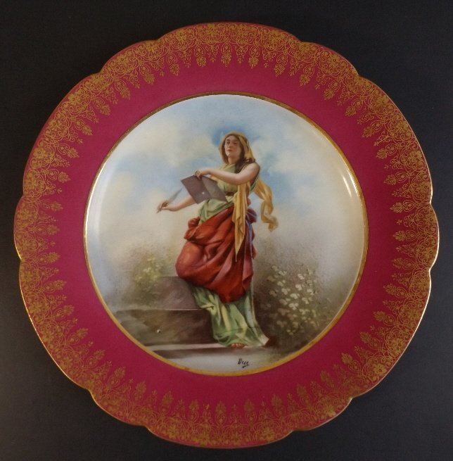 Muse of Poetry and Writers Limoges Porcelain Plate