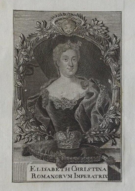 Empress Elisabeth Christina, Austria 1730s engraving