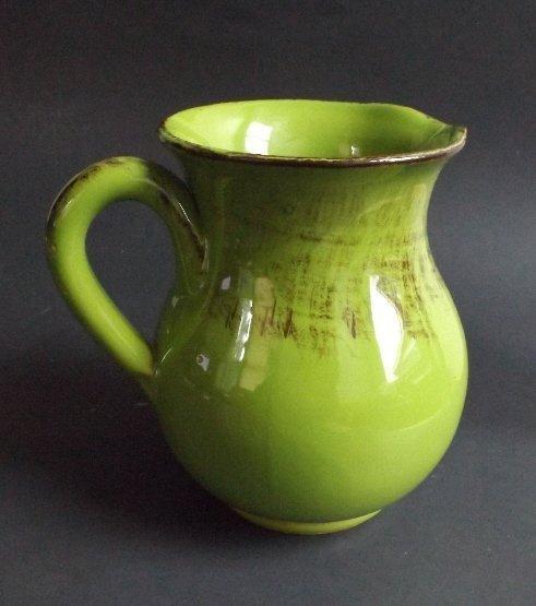 De Silva Italy Green Pitcher, Pottery Mid-Century