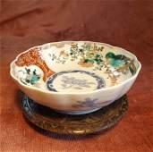Japanese Imari Bowl, Meiji Period 1880s wooden stand