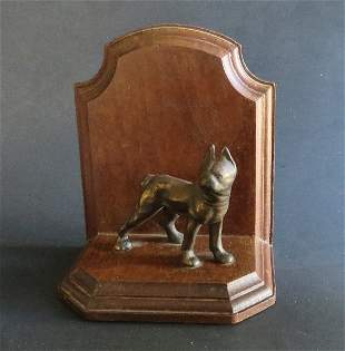 Antique Littco wood Bookend, 1920s Brass Boxer Dog