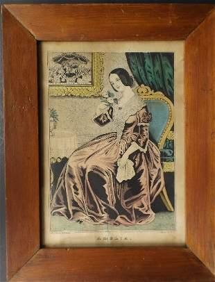 Currier, Amelia, 1845, Early American Folk Art framed