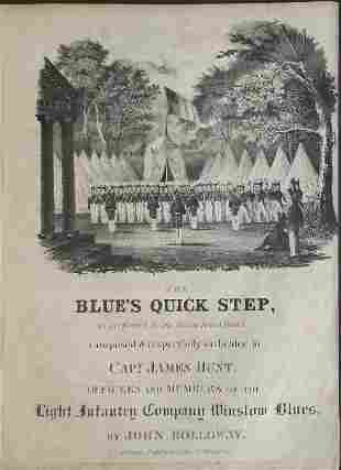 Blues Quick Step 1836 Military Sheet Music, Litho