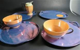 Set 7pc Bohemian opalescent porcelain Czechoslovakia