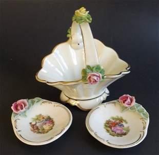 Saxon Dresden Porcelain Set, 2 Jewelry Trays, 1 Bascet