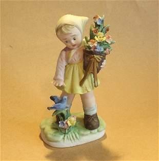 Girl with Bluebird & Flowers, 1950s ArnArt Figurine