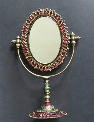 Movable Ornate Vanity Table Mirror Ruby Rhinestones