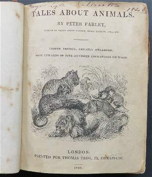 Parley, Tales About Animals, 500 wood engravings, 1840