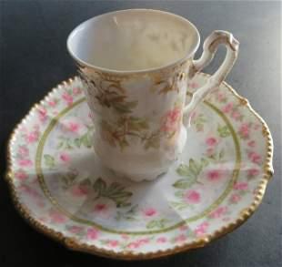 Limoges Art Nouveau Eggshell Porcelain Cup Saucer 1890s