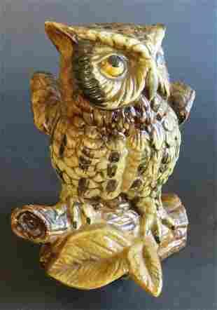 Owl on Logs Porcelain Figurine, Homco 1970s