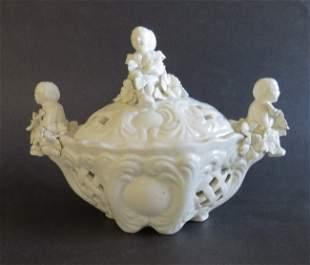 Italian Rococo Porcelain Potpourri lidded Bowl Cherubs