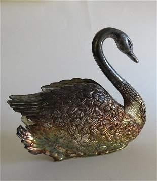Silver Plate Swan napkins holder, Goldinger 1980s
