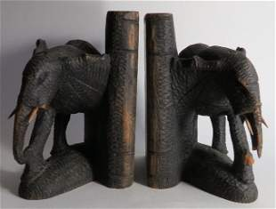 Pair of Antique Hand Carved Elephant Bookends