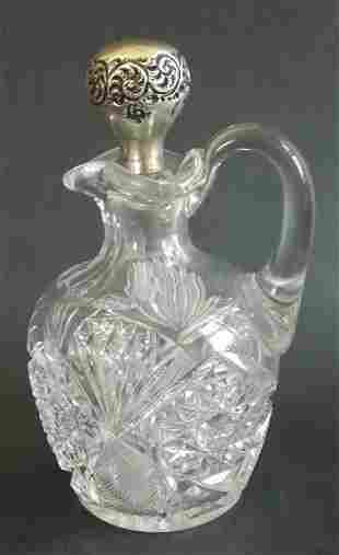Victorian hand cut crystal glass cruet,sterling stopper