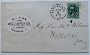 Allen Confectioner Cover, 1874 Petersburg Virginia