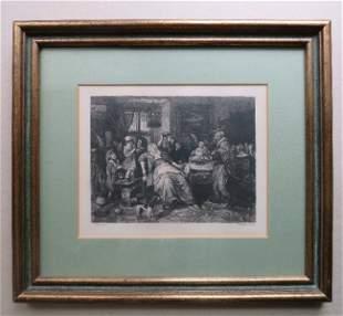 Jan Steen, Bean Feast, etching William Unger 1870s