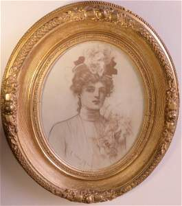 Allan Gilbert, Monique, 1901 Lithograph, antique frame