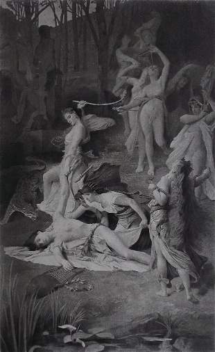 Emile Levy, Death of Orpheus 1866 Engraving Goupil 1881